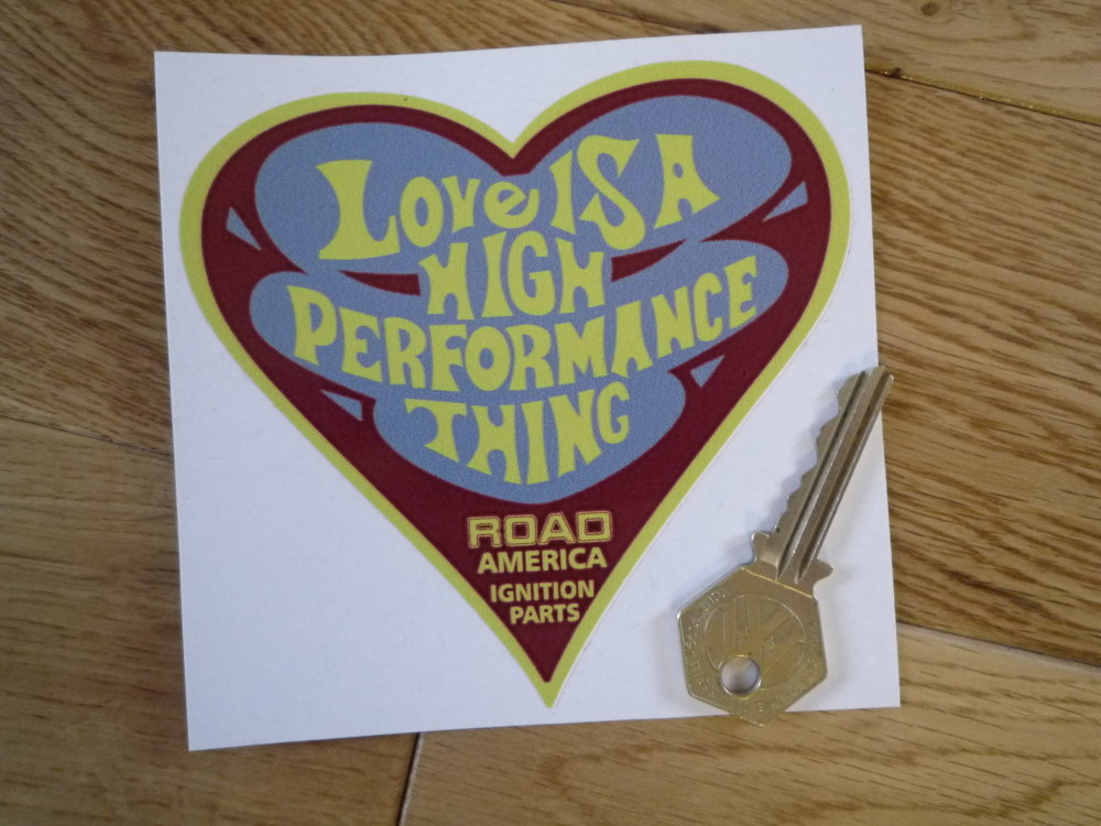 """Road America Ignition Parts. Love is a High Performance Thing Sticker. 4""""."""