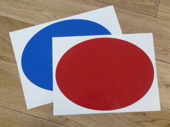 "Racing Roundel Plain. Oval. Various Colours. 8"" or 10""."