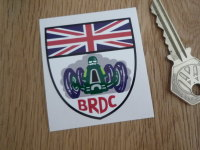 "BRDC Shield Shaped Sticker. 2"" or 3.25"" ."