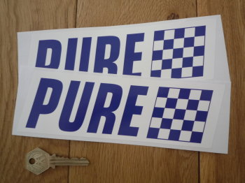 "Pure Blue & White Slanted Oblong Stickers. 8"" Pair."