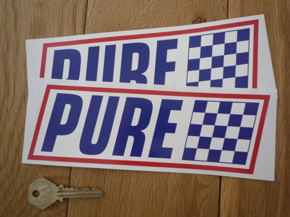 "Pure Red, Blue & White Slanted Oblong Stickers. 8"" Pair."