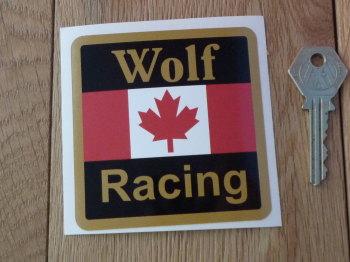"Wolf Racing Maple Leaf Sticker. 3.25""."