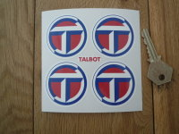 Talbot Wheel Centre Stickers. Red & Blue on White. Set of 4. 50mm.