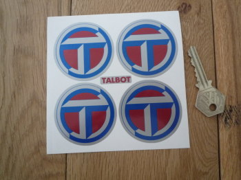 Talbot Wheel Centre Stickers. Red & Blue on Silver. Set of 4. 50mm or 55mm.