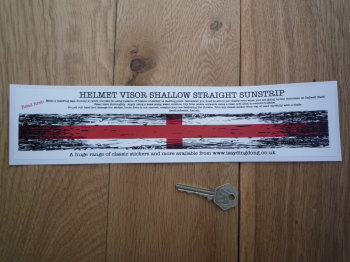 "England Flag Worn & Distressed Style Shallow & Straight Helmet Visor Sticker. 12""."