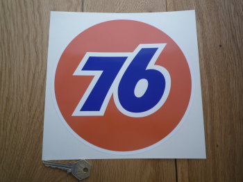 "Union 76 Circular '76' Orange Sticker. 8""."