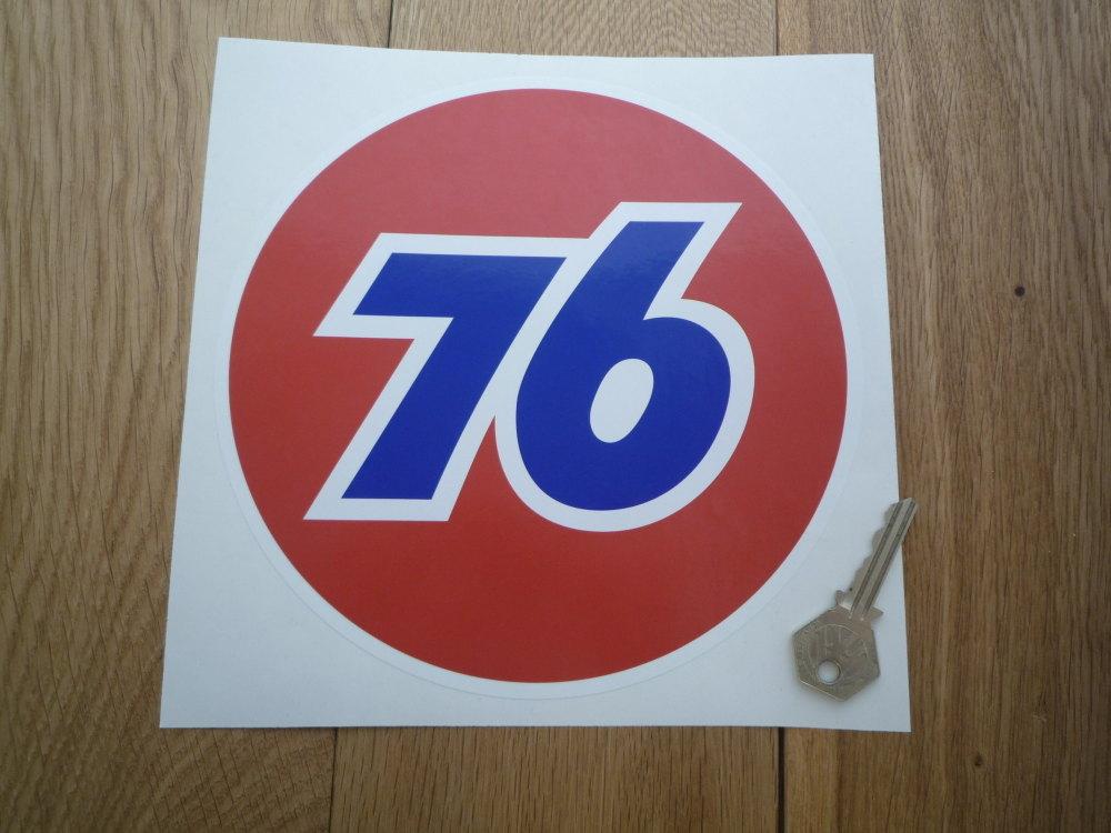 "Union 76 Circular '76' Red Sticker. 8""."