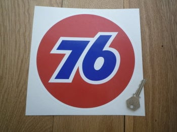 "Union 76 Circular '76' Red Sticker. 8""."