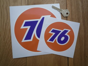 "Union 76 Circular '76' Orange Stickers. 2.5"", 3"", 4"", 5"" or 6"" Pair."