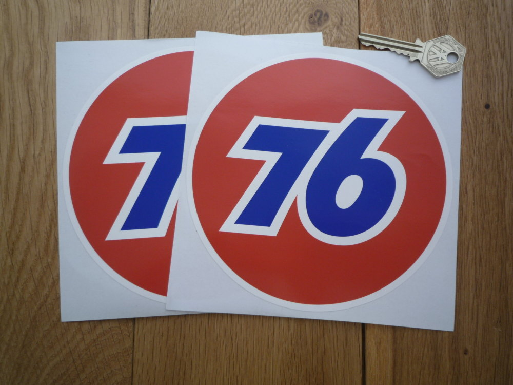 """Union 76 Circular '76' Red Stickers. 4"""" or 6"""" Pair."""