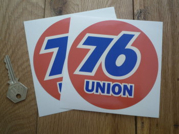 "Union 76 Circular 'Union' Cream Stickers. 5"" Pair."