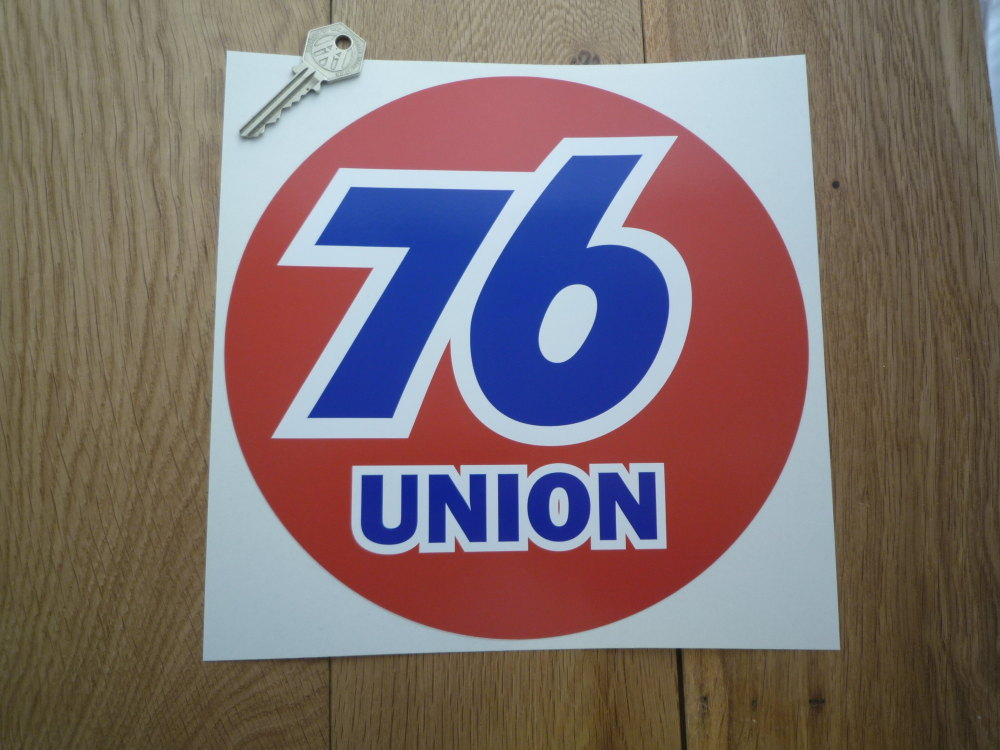"Union 76 Circular 'Union' Red Sticker. 9"" or 12""."