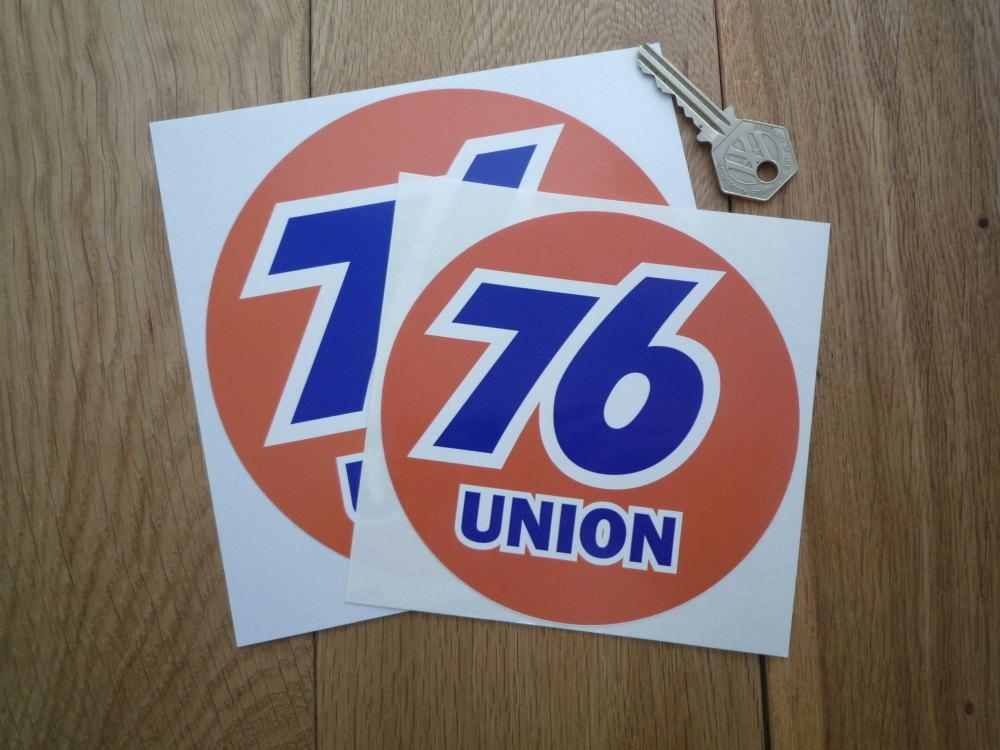 "Union 76 Circular 'Union' Orange Stickers. 5"" or 6"" Pair."