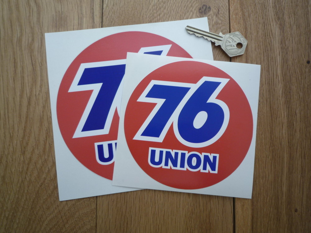 """Union 76 Circular 'Union' Red Stickers. 5"""" or 6"""" Pair."""