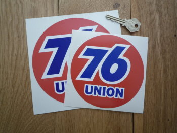"Union 76 Circular 'Union' Red Stickers. 5"" or 6"" Pair."