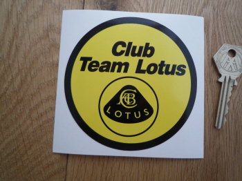 "Team Lotus Club. Yellow & Black Circular Sticker. 3.75""."