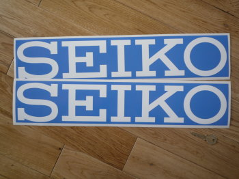 "Seiko Blue & White Oblong No Border Stickers. 20"" Pair."