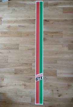 "Castrol GTX Body Stripe & Text Sticker. 57.5"" long.  4"" or 6"" wide."