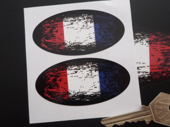 "France Fade To Black Oval Tricolour Flag Stickers. 3"" Pair."