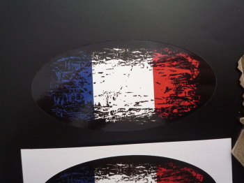 "France Fade To Black Oval Tricolour Flag Sticker. 4""."