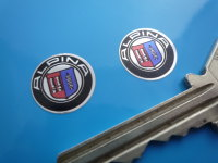BMW Alpina Logo Chrome Style Stickers. 15mm, 35mm or 63mm Pair.
