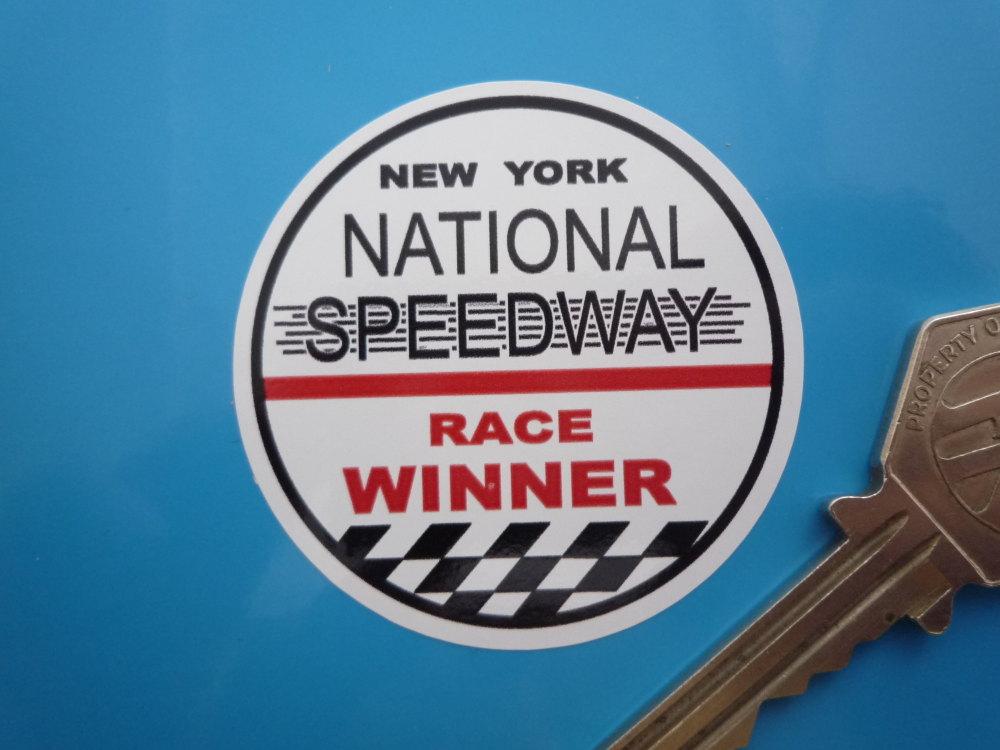 """National Speedway Race Winner Circular Sticker. 2"""" or 3.25""""."""