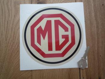 MG Circular Logo. Red, Black & Beige Sticker. 170mm.