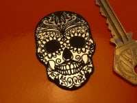 """Day of the Dead Mexican Skull Laser Cut Self Adhesive Badge. 2""""."""