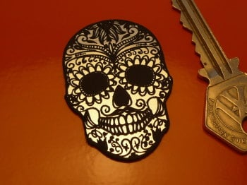 "Day of the Dead Mexican Skull Laser Cut Self Adhesive Badge. 2""."