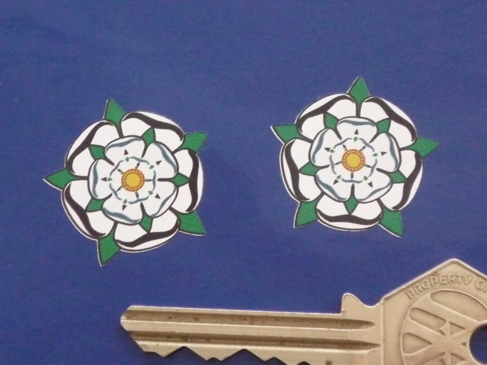 """Yorkshire White Rose Shaped Stickers. 1"""" Pair."""