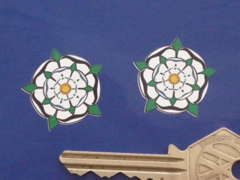 "Yorkshire White Rose Shaped Stickers. 1"" Pair."