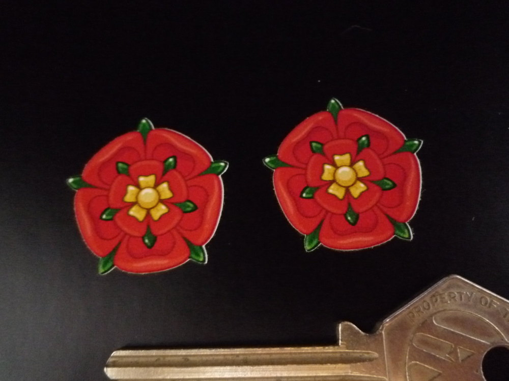 """Lancashire Red Rose Shaped Stickers. 1"""" Pair."""