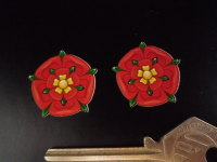Lancashire Red Rose Shaped Stickers. 1