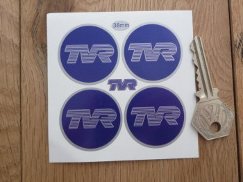 TVR Dark Blue Wheel Centre Stickers. Set of 4. 38mm or 50mm.