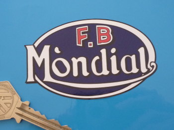 "FB - Mondial Blue Oval Sticker. 3.25""."