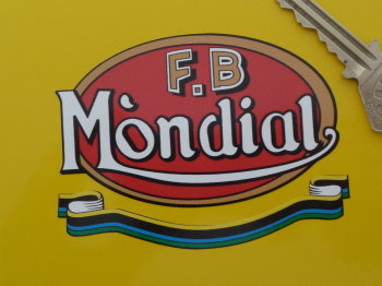 "FB - Mondial Red Oval & Scroll Sticker. 3.25""."