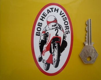 "Bob Heath Visors Oval Sticker. 4""."