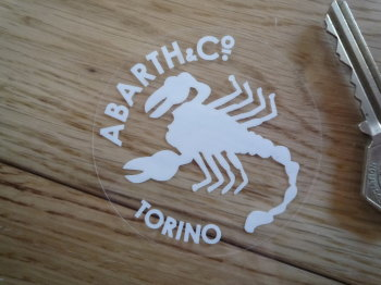"Abarth & Co Torino White & Clear Circular Window Sticker. 2.5""."