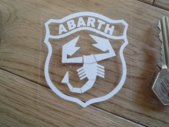 "Abarth Shield White & Clear Sticker. 3""."