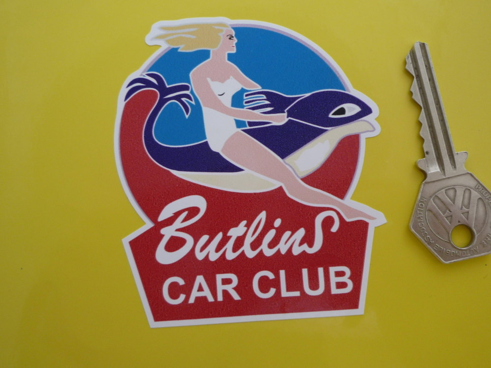 "Butlins Car Club Sticker. 3.5""."
