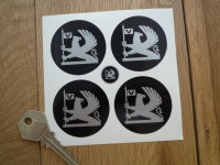 Vauxhall Silver & Black to Edge Old Style Wheel Centre Stickers. Set of 4. 42mm or 48mm.