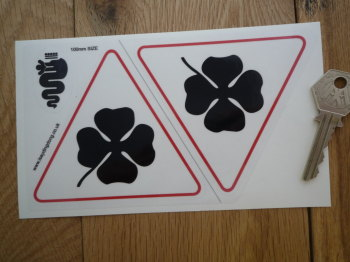 "Alfa Romeo Cloverleaf Stickers. Black, Red, & Clear. 4"" Pair."