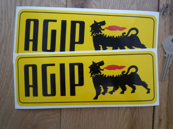 "Agip Old Style Yellow Oblong Stickers. 7.75"" Pair."