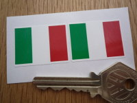 Italian Flag Oblong Italy Stickers. 33mm Pair.