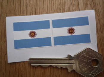 Argentinian Flag Oblong Argentina Stickers. 33mm Pair.