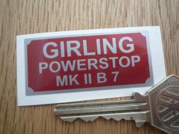 """Girling Powerstop MK II B 7 Sticker. 2""""."""