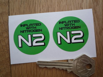 "Inflated With Nitrogen N2 Green Circular Stickers. 1.5"" Pair."