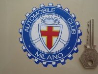 "Automobile Club Milano Cog Shaped Sticker. 3.25""."