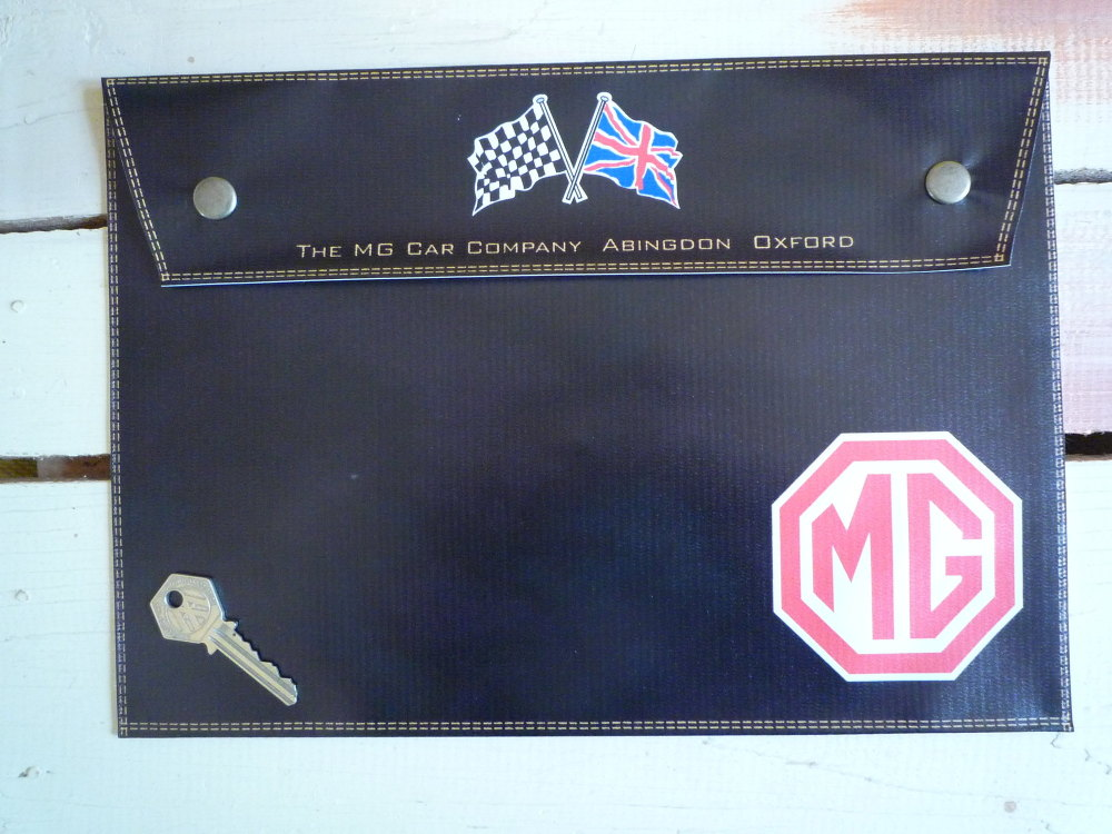 """MG Crossed Flag Style Document Holder/Toolbag. 10"""" or A4."""