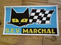 """SEV Marchal Cat/Flag Blue Background Sticker. 12""""."""
